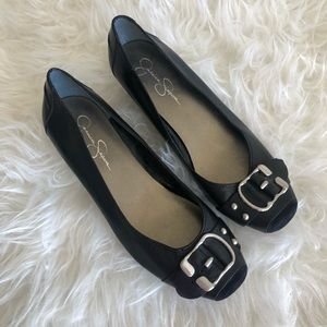 Jessica Simpson dafa black buckle dress shoe.
